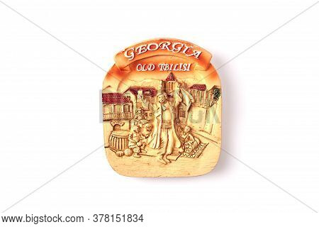 Georgia Old Tbilisi Souvenir. Souvenir With Depiction Of Medieval Georgian People. Isolated On White