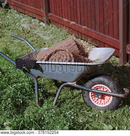 Outdoor Shot Of A Trolley Loaded With Garden Turf Rolls