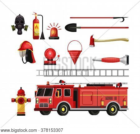 Fire Department Equipment Set. Fire-truck, Steel Ladder, Gas Mask, Fire Extinguisher, Water Hydrant,