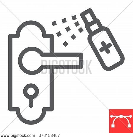 Disinfection Door Handle Line Icon, Hygiene And Disinfection, Cleaning Door Handle Sign Vector Graph