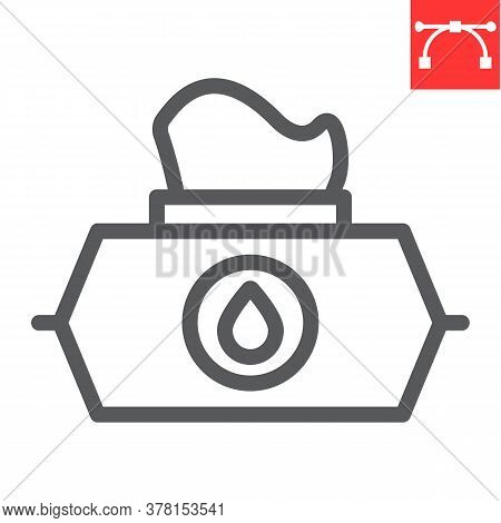 Wet Wipes Line Icon, Hygiene And Disinfection, Wet Tissue Pack Sign Vector Graphics, Editable Stroke