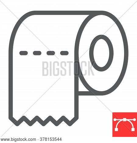 Toilet Paper Line Icon, Hygiene And Disinfection, Toilet Paper Sign Vector Graphics, Editable Stroke