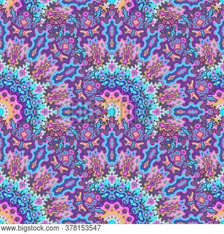 Kaleidoscope Flower Seamless Ornament. Tribal Folk Vector Graphic Design. Tangle Traditional Mandala