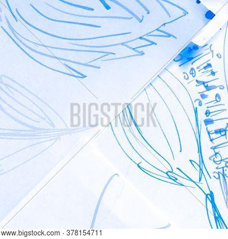 Sea Artistic Pattern. Marine Frost Motif. Batik Weather Navy Patchwork. Space Blue Tye Die Motif. Co