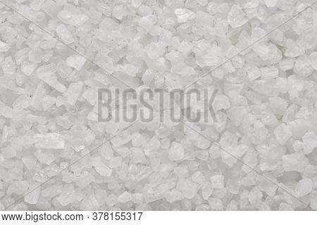 Coarse Sea Salt Granules Close-up Macro Shot Background Or Texture