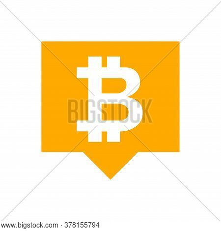 Bitcoin Currency Symbol In Speech Bubble Square Orange For Icon, Cryptocurrency Bitcoin Money For Ap