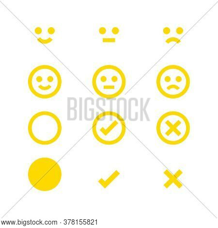 Yellow Glowing Icon Emotions Face, Emotional Symbol And Approval Check Sign, Emotion Faces And Check