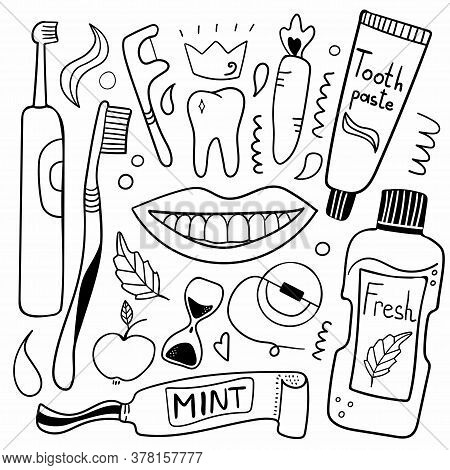 Cleaning Tools Line. Toothbrush, Toothpaste And Dental Floss, Hand Drawn Morning Hygiene, Oral Care