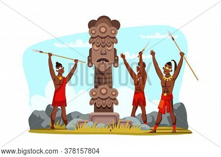 Tribal Man Warrior Characters Wearing Traditional Clothes Holding Spear Weapon In Hands Praying To P