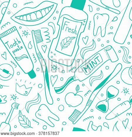 Cleaning Mouth Tools Line Seamless Pattern. Toothbrush, Toothpaste And Dental Floss, Hand Drawn Morn