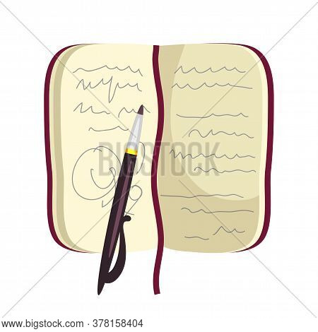 Cartoon Notebook With Writer Author Notes And Pen Isolated On White. Open Personal Organizer For Cop