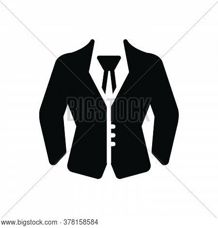 Black Solid Icon For Formal-wear Uniform Suit Dress Formal Wear Clothes Fashion Garment