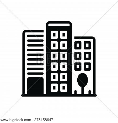 Black Solid Icon For Office-building Building Office Building  Corporate Architecture Flats Ecommerc