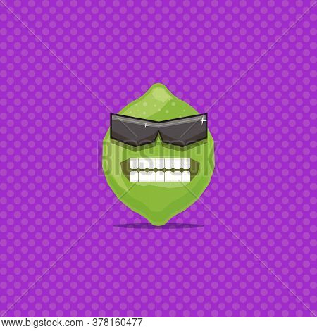 Vector Funny Cartoon Green Lime Character With Sunglasses Isolated On Violet Background. Funky Smili