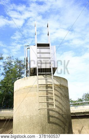 Ladder Of A King\'s Chair In A Clarifier Of A Wastewater Treatment Plant