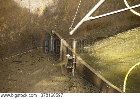 Broken Frame In The Clarifier Of A Sewage Treatment Plant