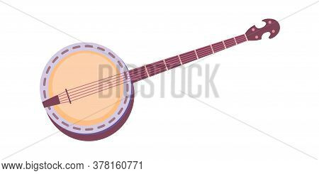 American Banjo Retro Guitar. Vintage Musical Instrument With Four String For Playing Western Or Sout