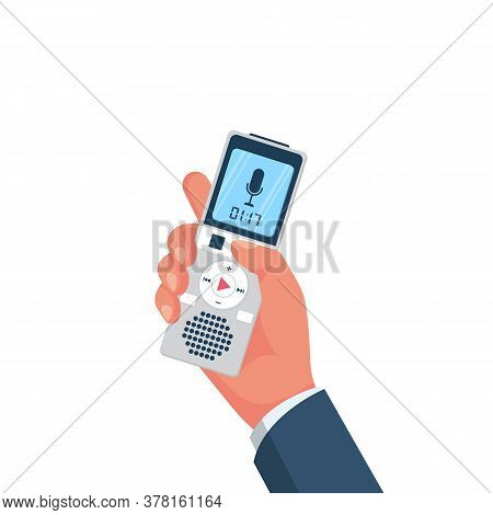 Voice Recorder In Hand. Journalist Holds Dictaphone, Recorder. Live News Template. Interview Reporte