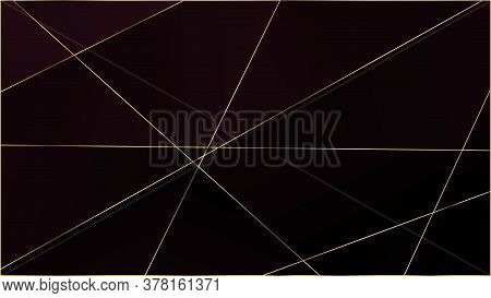 Red Premium Polygon Pattern. Elegant Dark Platinum Chic Shapes Frame Gold Lines Triangular Luxury Bo