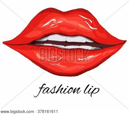 Red, Female Lips Isolated On A White Background, Air Kiss, Beautiful Lips, Beauty, Red Lipstick, Cos