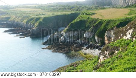 Holy Iland coast line in sun. Wales UK