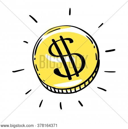 One dollar coin of USD american money. Gold Penny Coin shining currency symbol. Best offer and super sale price creative concept. Illustration.