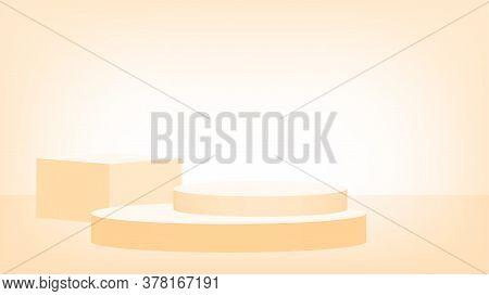 3d Stage Pedestal Light Orange, Podium Stage Show For For Product Place Or Presentation