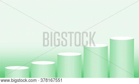 Green Pedestal Cylinder Circle 5 Steps For Cosmetics Showcase, Podium Circle Stage Green Pastel Soft