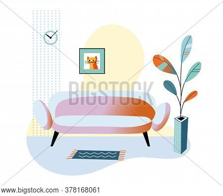 Living Room With Sofa, Flower Pot, Picture And Clock On Wall. Cozy Home Atmosphere. Design Interior.