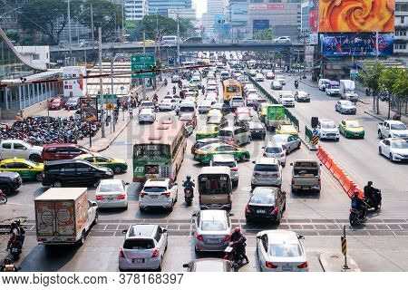 Bangkok, Thailand -january 10,2020 : Transport Environmental Pollution, Traffic Jam In Rush Hour In