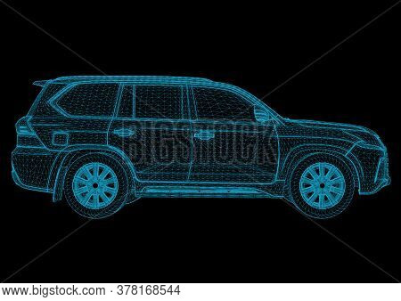 Abstract Image Of A Sport Car In The Form Of A Starry Sky Or Space, Consisting Of Points, Lines, And