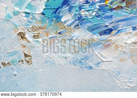 Abstract acrylic and watercolor smear blot painting. Color horizontal texture background.