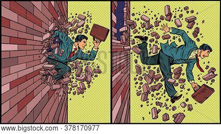 Businessman Breaks Through A Brick Wall. Pop Art Retro Vector Illustration 50s 60s Style