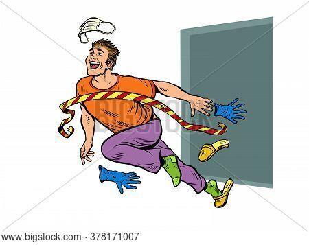 The End Of Quarantine. The Man Removes The Medical Mask. Pop Art Retro Vector Illustration Kitsch Vi