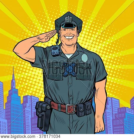 A Good Cop Salutes. Police Work. Pop Art Retro Vector Illustration 50s 60s Kitsch Vintage Style
