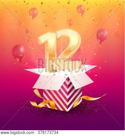 12 Th Years Anniversary Vector Design Element. Isolated Twelve Years Jubilee With Gift Box, Balloons
