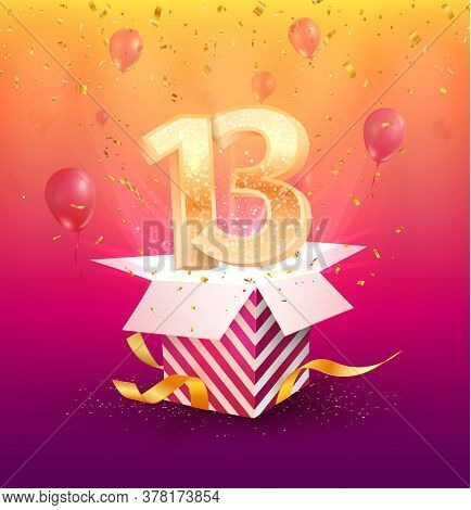 13 Years Anniversary Vector Design Element. Isolated Thirteen Years Jubilee With Gift Box, Balloons