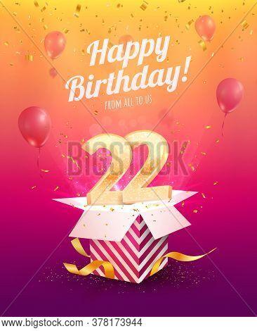 Celebrating 22 Th Years Birthday Vector Illustration. Twenty Two Anniversary Celebration Invitation