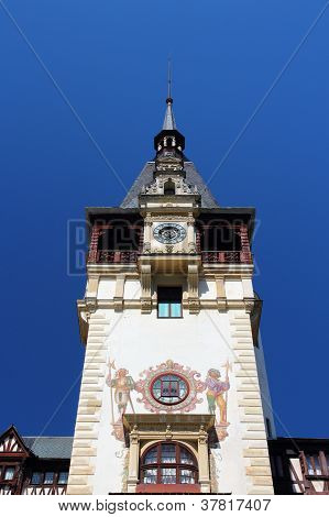 Peles castle in Muntenia region Romania. Old building in Sinaia (Prahova county). poster