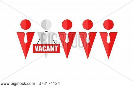 Vacant Workplace - Job Hiring Human Resources Recruitmen Search Isolated Vector Logo