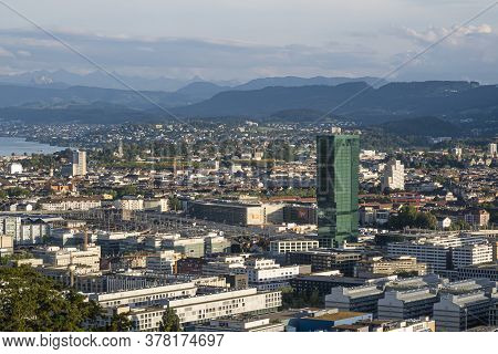 Zurich, Switzerland - July 26, 2020: Looking At The City, The Green Prime Tower Stands Out - It Is T