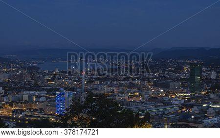 Zurich, Switzerland - July 26, 2020: Blue Hour In Zürich, The Largest City In Switzerland. It Is Loc