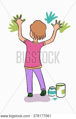 Vector Character Little Girl Stands And Playing With Colorful Finger Paints, Handprints On Wall. Sta
