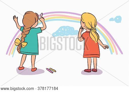 Little Girl Friend Drawing Colorful Rainbow, Blue Cloud With Multicolor Chalk. Cheerful Children Pai