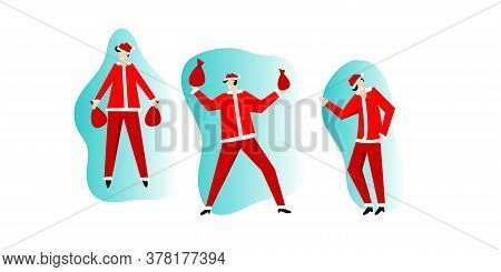 Santa Claus In Red Costume Happy Dancing. Christmas Santa With Gift Cartoon Flat Style Figure. Chris