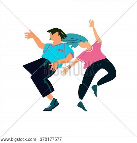 Young Man And Woman Dancing, Having Fun. Professional Dance, Party, Dancing Off Concepts. Vector Ill