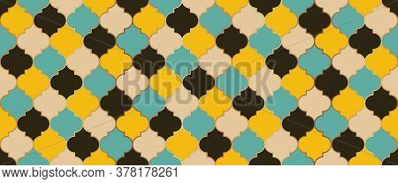 Eid Mubarak Islamic Decoration. Ramadan Traditional Mosque Golden Shape. Seamless Moroccan Mosaic De