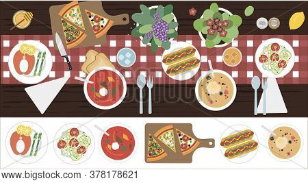 The View From The Top On The Table With Dinner For Two. Vector Illustration Of A Dining Table With S