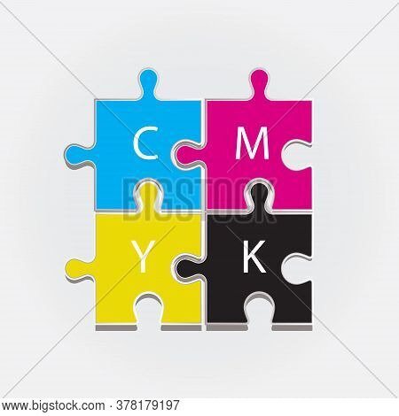 The Color Scheme Cmyk Depicted In Four Puzzles. Quality Vector.