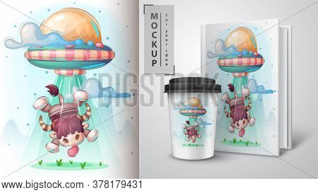 Ufo Bull - Poster And Merchandising. Vector Eps 10